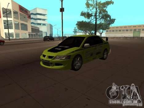 Mitsubishi Lancer Evolution 8 para GTA San Andreas vista inferior
