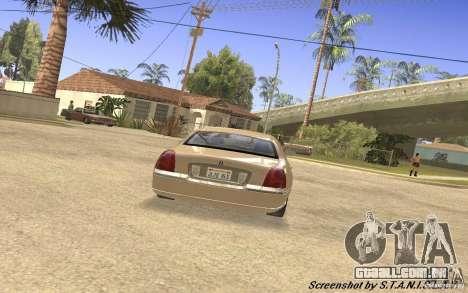Lincoln Towncar Secret Service para GTA San Andreas vista direita