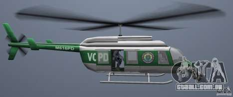 VCPD Chopper para GTA Vice City vista direita