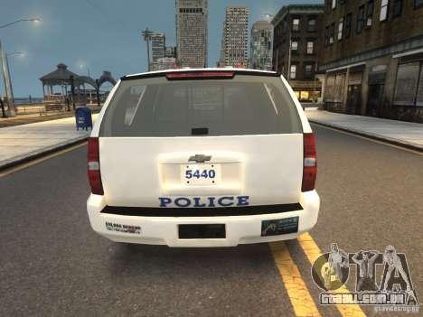 Chevrolet Tahoe NYPD V.2.0 para GTA 4 traseira esquerda vista