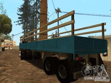 Trailer de Kamaz 5410 para GTA San Andreas esquerda vista