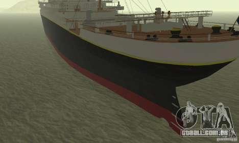 RMS Titanic para GTA San Andreas traseira esquerda vista