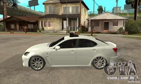Lexus IS F 2009 para GTA San Andreas traseira esquerda vista