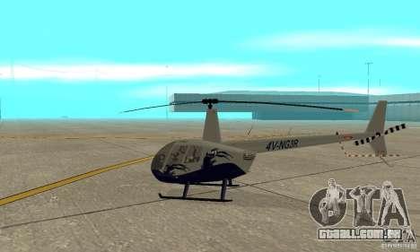 Robinson R44 Raven II NC 1.0 4 de pele para GTA San Andreas traseira esquerda vista