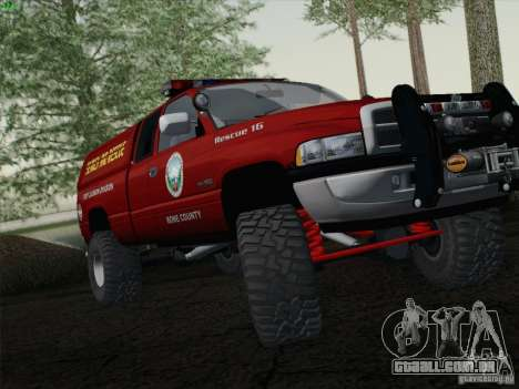 Dodge Ram 3500 Search & Rescue para GTA San Andreas traseira esquerda vista