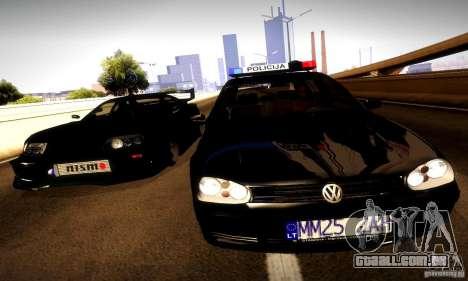 Volkswagen Golf Police para GTA San Andreas vista traseira