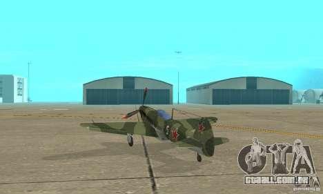 Yak-9, durante a II Guerra Mundial para GTA San Andreas traseira esquerda vista