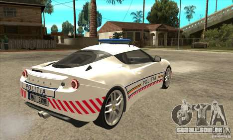 Lotus Evora S Romanian Police Car para GTA San Andreas vista direita