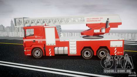 Scania Fire Ladder v1.1 Emerglights blue [ELS] para GTA 4 esquerda vista