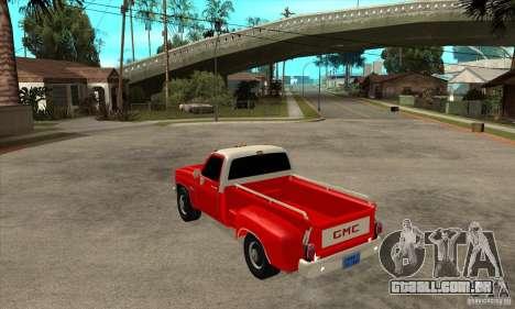 GMC 454 PICKUP para GTA San Andreas traseira esquerda vista