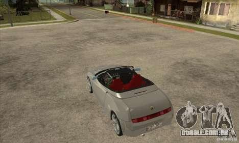 Alfa Romeo Spyder para GTA San Andreas traseira esquerda vista