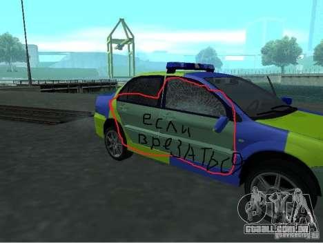 Polícia de Mitsubishi Lancer para GTA San Andreas vista traseira