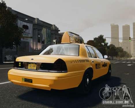 Ford Crown Victoria NYC Taxi 2012 para GTA 4 traseira esquerda vista