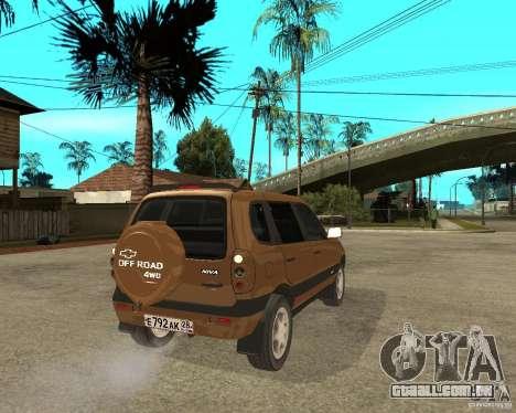 CHEVROLET NIVA Version 2.0 para GTA San Andreas traseira esquerda vista