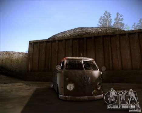 Volkswagen Transporter T1 rat pickup para GTA San Andreas vista traseira