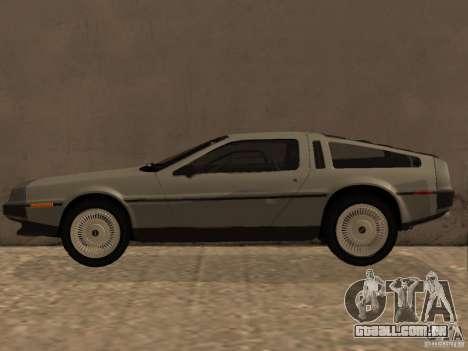 DeLorean DMC-12 para GTA San Andreas esquerda vista