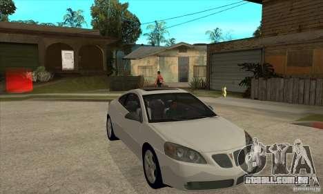Pontiac G6 Stock Version para GTA San Andreas vista traseira