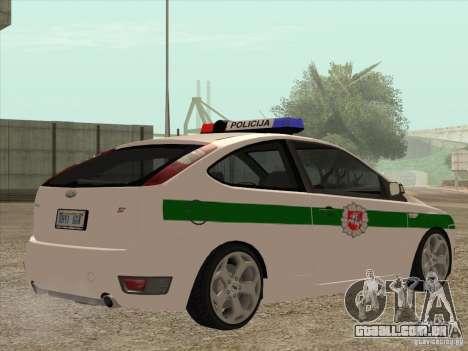 Ford Focus ST Policija para GTA San Andreas vista direita