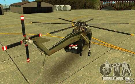 Sikorsky CH-54 Tarhe para GTA San Andreas traseira esquerda vista