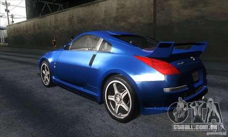 Nissan 350Z Varis para GTA San Andreas traseira esquerda vista