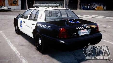 Ford Crown Victoria SFPD K9 Unit [ELS] para GTA 4 traseira esquerda vista