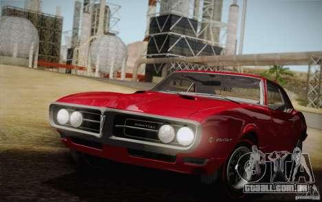 Pontiac Firebird 400 (2337) 1968 para GTA San Andreas vista superior