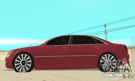 Audi A8L 4.2 FSI para GTA San Andreas traseira esquerda vista