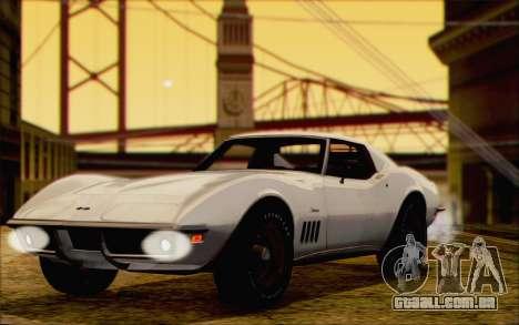 Chevrolet Corvette C3 Stingray T-Top 1969 para GTA San Andreas traseira esquerda vista