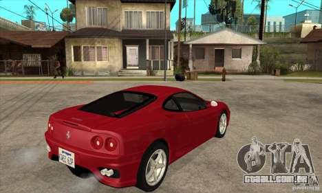 Ferrari 360 Modena para GTA San Andreas vista direita