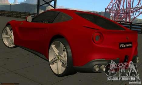 Ferrari F12 Berlinetta BETA para GTA San Andreas traseira esquerda vista