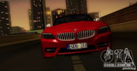 BMW Z4 Stock 2010 para GTA San Andreas vista inferior