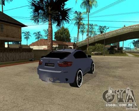 BMW X6 M HAMANN para GTA San Andreas traseira esquerda vista