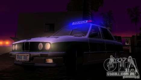 BMW E30 Sedan Police para GTA San Andreas vista interior