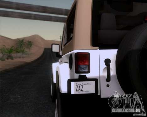 Jeep Wrangler Rubicon para GTA San Andreas traseira esquerda vista