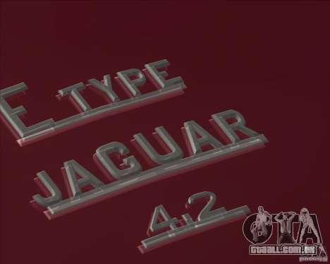 Jaguar E-Type Coupe para GTA San Andreas traseira esquerda vista