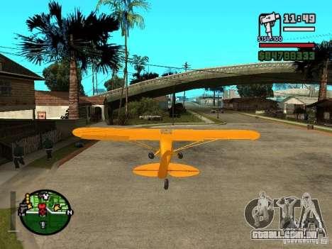Piper J-3 Cub para GTA San Andreas traseira esquerda vista
