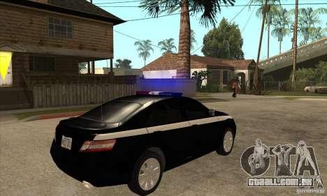 Toyota Camry 2010 SE Police RUS para GTA San Andreas vista direita