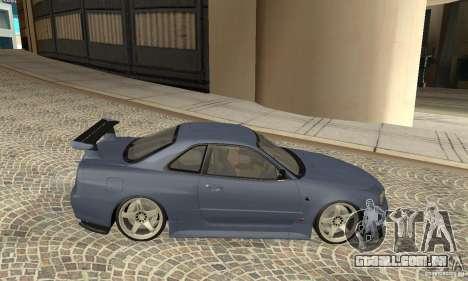 Nissan Skyline R-34 GTR para GTA San Andreas traseira esquerda vista