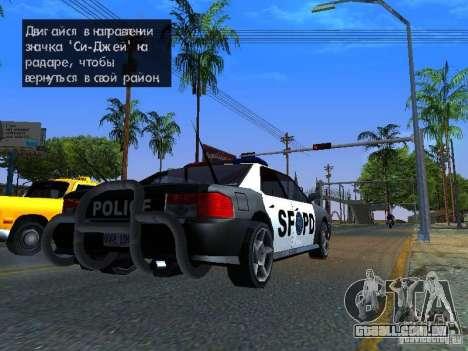 San-Fierro Sultan Copcar para GTA San Andreas esquerda vista