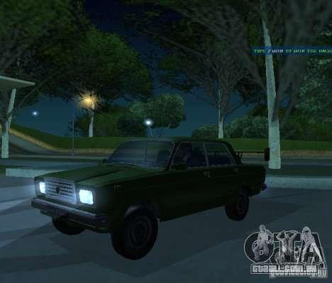 Vaz 2107 permite para GTA San Andreas vista traseira