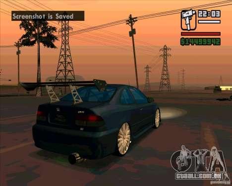 Honda Civic Tuned (corrigido) para GTA San Andreas traseira esquerda vista