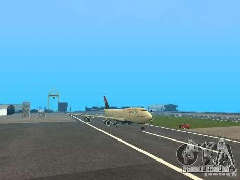 Boeing 747-400 Delta Airlines para GTA San Andreas esquerda vista