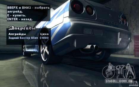 Nissan Skyline GTR R34 VSpecII para o motor de GTA San Andreas