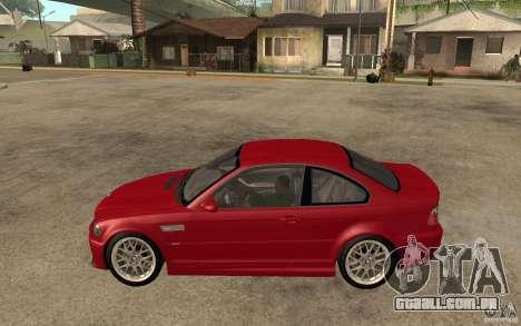 BMW M3 CSL para GTA San Andreas esquerda vista