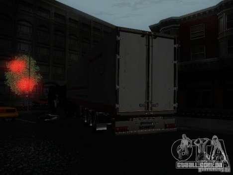 Reboque reefer para GTA San Andreas traseira esquerda vista