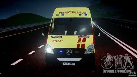 Mercedes-Benz Sprinter PK731 Ambulance [ELS] para GTA 4 vista superior