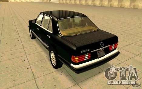 Mercedes Benz 560SEL w126 1990 v1.0 para GTA San Andreas traseira esquerda vista