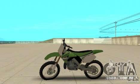 Kawasaki KX250 para GTA San Andreas traseira esquerda vista