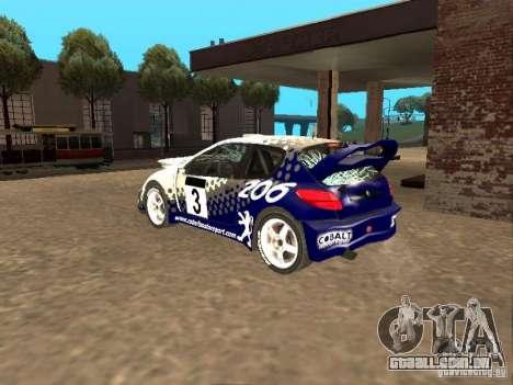 Peugeot 206 WRC de Richard Burns Rally para GTA San Andreas vista superior