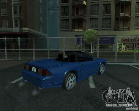 Chevrolet Camaro 1992 para GTA San Andreas vista traseira